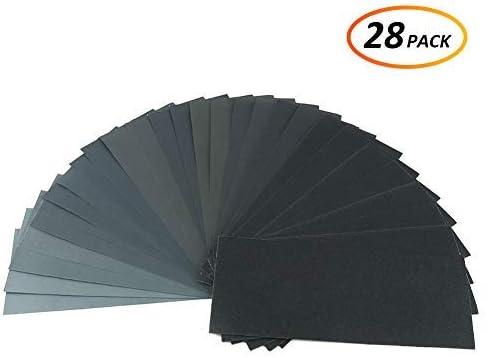 36 PCS Papier de Verre Abrasif Papier 9 Tailles Extra-Fin 400//600//800//1000//1200//1500//2000//2500//3000 /à Sec et Humide Pour Poncer Phares Bois Metal Travail /à La Main