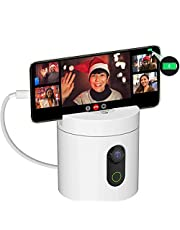 Auto Tracking Smartphone Holder, 360° Rotation Phone Camera Handsfree Face Body Motion Tracking Camera Phone Mount, with 4000mAH Portable Charger Power Bank, No App, Battery Operated Smart Shooting Holder for Live Vlog
