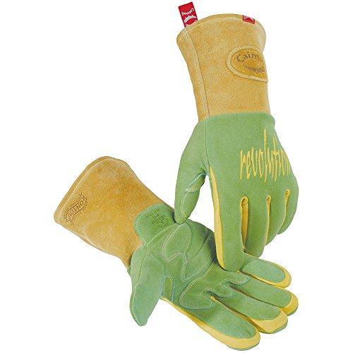 Caiman Wasabi Green Deerskin, Heavy Insulation, Welding-Revolution Large (Deerskin Welding Gloves)