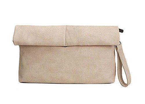 GSHGA Bolsos De Las Mujeres Simple Linen Hand BagRetro Roll Messenger Bags Fashion,Black apricot