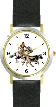 Horse and Rider Chasing Calf in Calf Wrestling Horse - WATCHBUDDY DELUXE TWO-TONE THEME WATCH - Arabic Numbers - Black Leather Strap-Children's Size-Small ( Boy's Size & Girl's Size ) by WatchBuddy