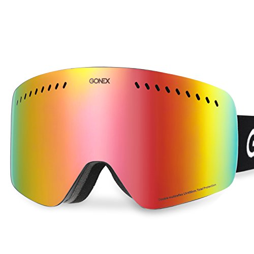 More Suitable for Double board skiing, Gonex Double Cylindrical Lens Ski Goggles, Anti-fog UV400 Protection Snow Snowboard Goggles (Colorful Lens Small)