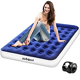 AirExpect Air Mattress Camping AirBed Queen & Twin Size Leak Proof Inflatable Mattress with Rechargeable Electric Pump Built-in Pillow for Guest,Camping,Hiking, Height 9″,Storage Bag