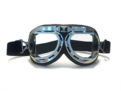 CRG Sports Vintage Aviator Pilot Style Motorcycle Cruiser Scooter Goggle T08 T08SCB Transparent lens, silver frame, black padding