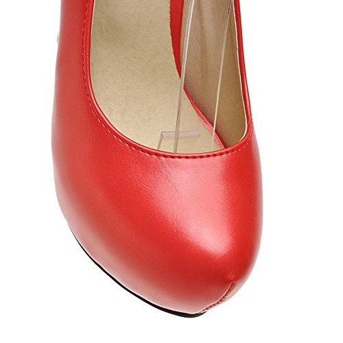 VogueZone009 Damen Rein Weiches Absatz Schnalle Rund Zehe Pumps Schuhe Rot