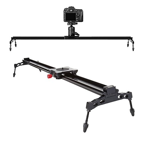 COOCHEER Camera Slider, Aluminum DSLR Dolly Track Rail Perfect for Photography and Video Recording with 1/4'' 3/8'' Screw for YouTube video and short filmmakers by COOCHEER
