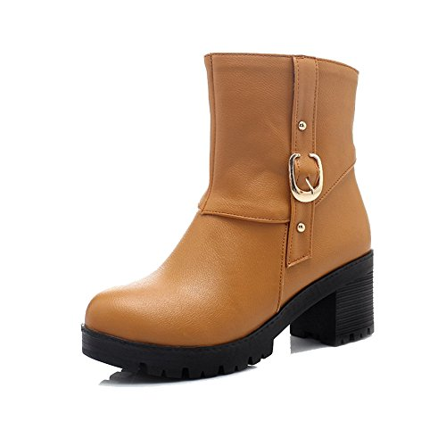 Solid PU Round Toe Boots Kitten WeiPoot Yellow Women's Zipper Closed Heels 0xHn56P