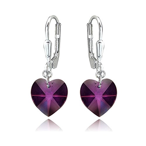 Sterling Silver Purple Heart Dangle Leverback Earrings Made with Swarovski Crystals ()