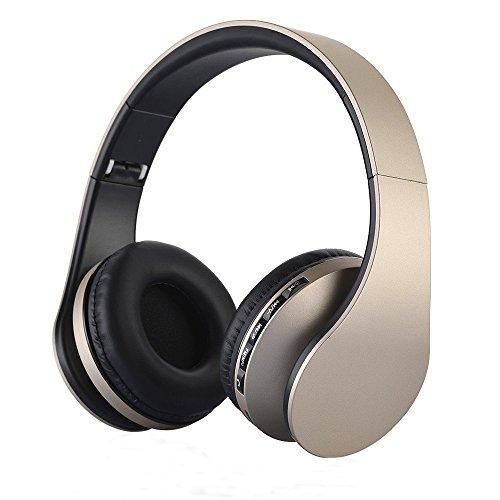 Bluetooth Headphone Kopfhörer, PUGO TOP Sport Ohrhörer Wireless Earphone Over Ear Drahtlos Headset über Ohr-Kopfhörer mit Lederohrpolster FM Radio, TF-Karten, MP3-Player, Mikrofon, 3,5 mm Anschlusskabel Schwarz