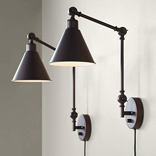 Wray Modern Industrial Up Down Swing Arm Wall Lights Set of 2 Lamps Dark Brown Sconce for Bedroom Reading - 360 Lighting (Brass Two Light Wall Lamp)