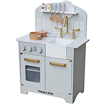 Amazon Com Pidoko Kids Play Kitchen Grey Toy Kitchen Set With Accessories Gray And Gold