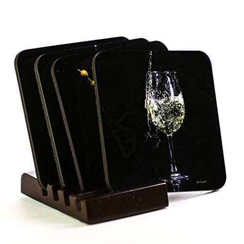 Drink coasters with pictures, Champagne, White Wine, Martini, Margarita, with coaster holder included, perfect for bar decor, cork bottom, set of 4 coasters for drinks, excellent for bar decorations