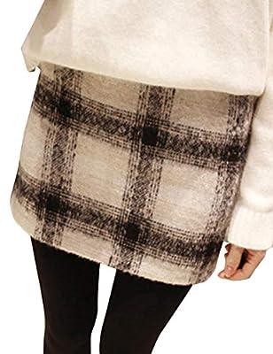 Tanming Womens Autumn Winter Casual Mid Waist Woolen A Line Plaid Short Mini Skirt