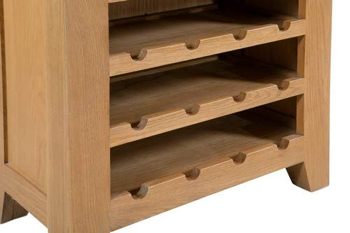 Light, Hallowood Cotswold Oak 1 Drawer Wine Table in Lacquered Finish Holds 20 Bottles COT-WT Wooden Rack Storage Cabinet