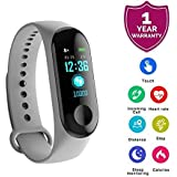 M3 Bluetooth Smart Band with OLED Display, Water Proof Coating, Smart Notifications, Pedometer, Heart Rate Monitor, Blood Pressure & Smart Features for Android and iOS Devices