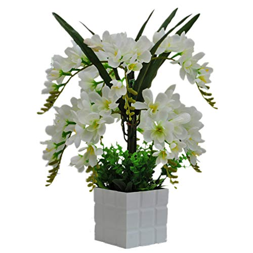 Mynse Set of Silk Common Freesia Orchid Flowers for Wedding Bouquets Artificial Common Freesia Orchid Flowers with White Vase