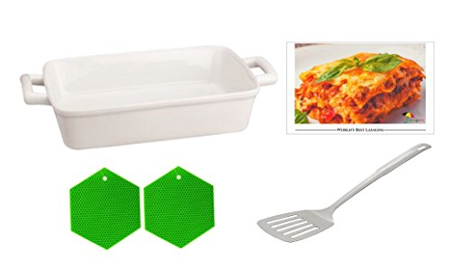 Lasagna Casserole Ceramic Dish 5 Piece Gift Bundle Includes 1 Lasagna Pan 1 Slotted Lifter 2 Silicone Pot Holders 1 Recipe Perfect for Your Own Personal Dinner