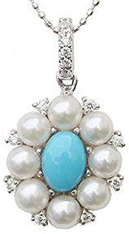 真珠パール ペンダントトップ パール ペンダントヘッド wg あこや本真珠 3.75mm ダイヤモンド14石 0.12ct トルコ石 花 フラワー K18WG ホワイトゴールド 結婚式 記念日 パーティー