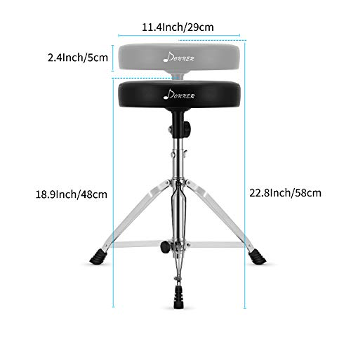 Donner Drum Throne Upgraded, Padded Drum Seat Portable Height Adjustable Drumming Stools for Kids & Adult