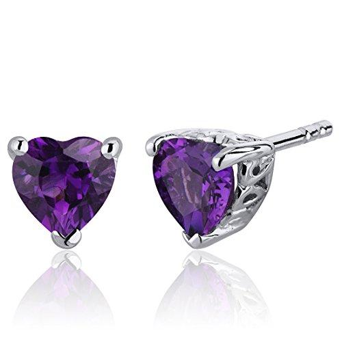 Heart Shaped Amethyst Earrings - 1.50 Carats Amethyst Heart Shape Stud Earrings in Sterling Silver Rhodium Nickel Finish