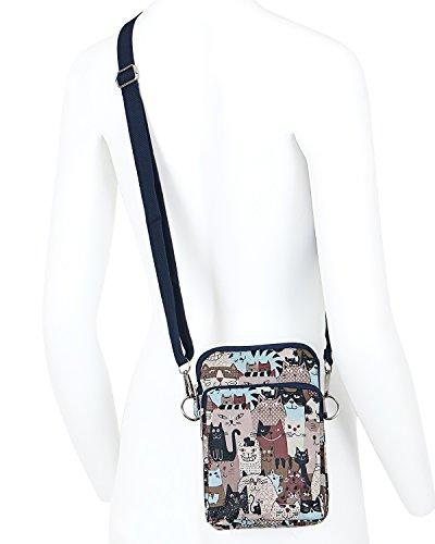 Lightweight Body Shoulder Bag Strap Mini Pocket Bag Purse Cross ililily Brown Pattern Cat S6w5qSR