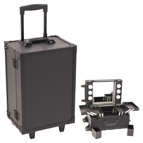 Sunrise Black Professional Rolling Makeup Studio Case with Lights/ Mirror by SunRise