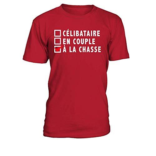 Homme Teezily Couple En Chasse Rouge T A La shirt Célibataire rxrXvqEf
