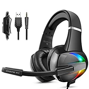 Beexcellent Gaming Headset with 50MM Driver, Soft Memory Earmuffs & Noise Canceling Mic Surround Stereo Gaming…