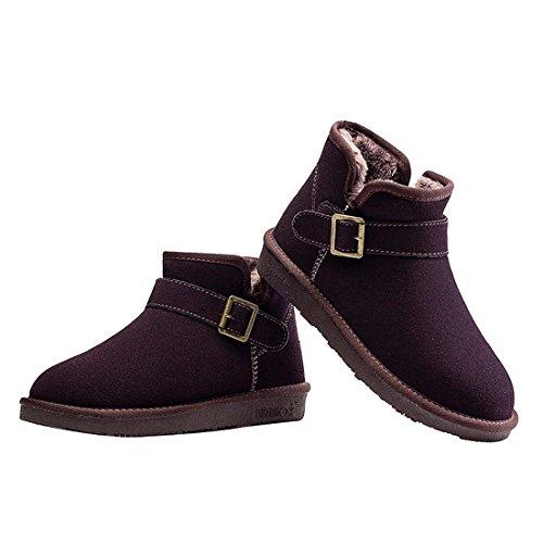 HooH Women's Nubuck Metal Buckle Snow Boots 5856 Coffee nHq4Jw1W