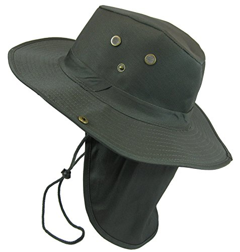Boonie Hat Olive Drab - Boonie Bush Safari Outdoor Fishing Hiking Hunting Boating Snap Brim Hat Sun Cap with Neck Flap (Olive Drab, XL)