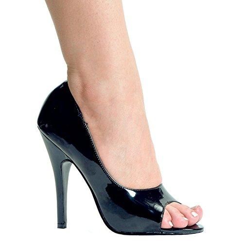 Ellie Zapatos Mujeres - Tacón Abierto, 5 Pulgadas, Punta Abierta, Negro