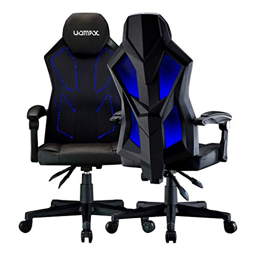 UOMAX Gaming Chairs, Ergonomic Computer Chair for Gamers, Reclining Racing Chair with LED Lights, Armrests and Lumbar Cushion (Black Blue)
