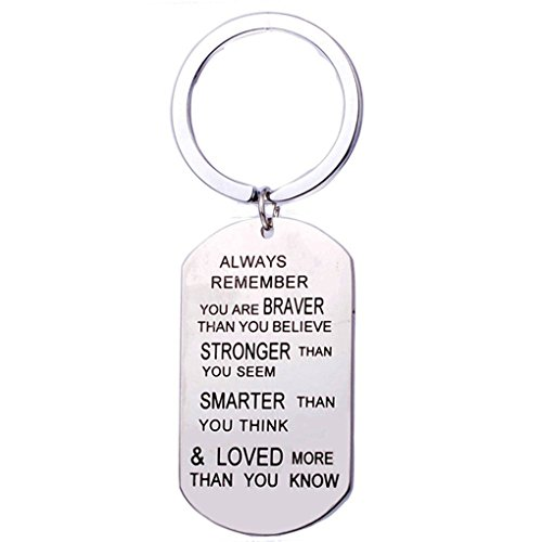 CanViUK Fashion Solid Stainless Steel Dog Tag Keyring for Him or Her Key Chain