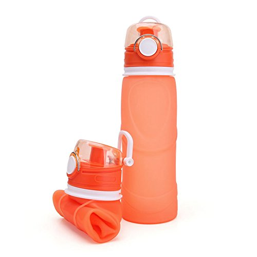 Odsports Collapsible Water Bottle - Silicone Foldable with Leak Proof Valve BPA Free, 25.6 Ounce (Orange)