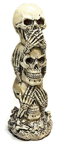 Bellaa 26980 The Hear-no, See-no, Speak-no Evil Skull Statue Sculpture Figure Skeleton Limited