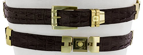 Cowboy Professional - Men's Brown Crocodile Tail Print Leather Belt Gold Links 44 ()