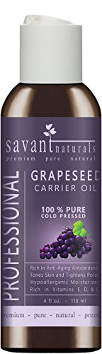 Grapeseed Carrier Oil | Cold Pressed Pure & Natural | For Essential Oil | Massage | Acne Wrinkles Hair & Skin Care | Linoleic Acid | Vitamin E | Promotes Collagen | 4 oz | Savant Naturals ()