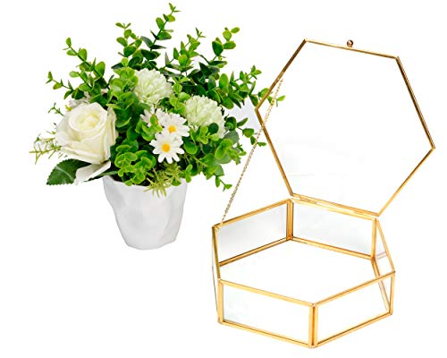 CHICHIC Glass Box Gold Jewelry Box Vintage Jewelry Organizer Decorative Wedding Card Box Golden Hexagon Clear Vanity Dresser Tray for Bracelet Rings Perfume Cosmetics Makeup Display Keepsake Storage