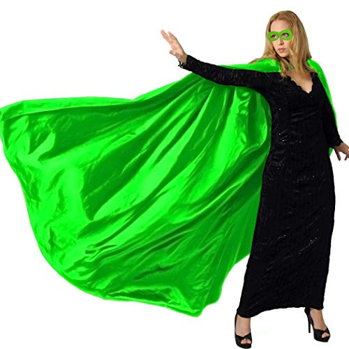 (Men & Women's Superhero-Cape or Cloak with Mask for Adults Party Dress up Costumes (Green))