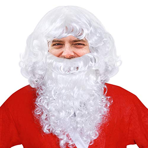 FENICAL Santa Wig Beard Set Christmas Gift -