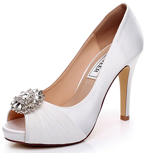 LUXVEER White Lace Wedding Shoes Combining Satin Lace and Rhinestone Brooch High Heel 4.5inch-Peep Toe-EUR41