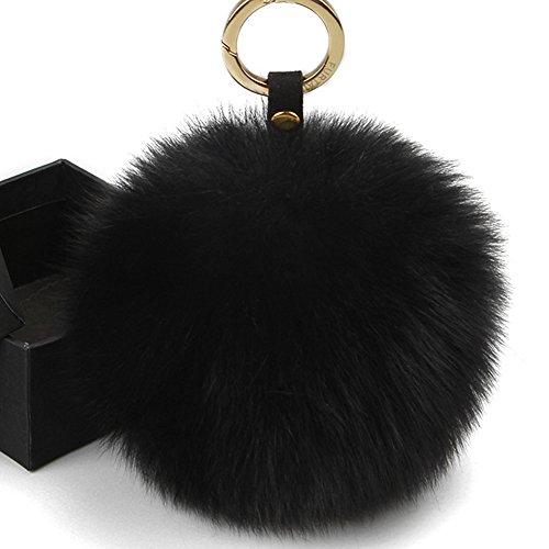 - FURTALK Genuine Large Fox Fur Pompoms Mobile Strap Coppia Keychain Fox Fur Ball