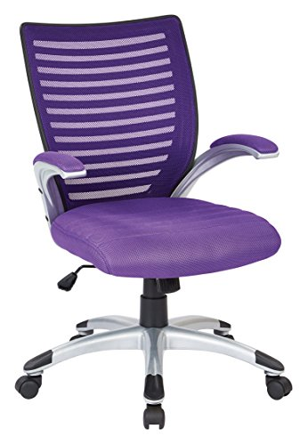 Office Star Breathable Mesh Back and Padded Mesh Seat Managers Chair with Fixed Arms and Silver Accents, Purple ()