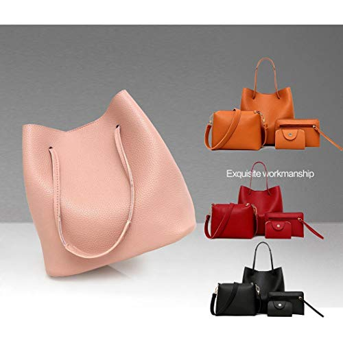 Noir Fashion bandoulière Tote main à Sacs à Fashion Women Sac 4pcs Bag Zuionk H7SAp