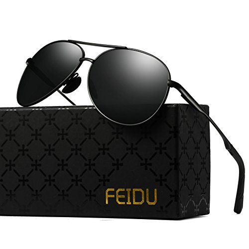 Polarized Aviator Sunglasses for Men - FEIDU Driving Sunglasses Unisex FD9002 (black/black-9002, 2.28)
