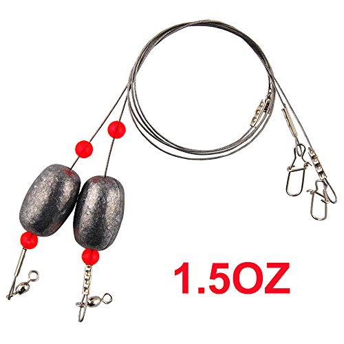 Easy Catch Fishing Sinkers Weights 4 Pack 1 1/2-Ounce Fishing Egg Sinker Rigs with Fishing Swivels and Snap for Trout, Flounder and Bottom Fish