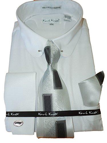 Karl Knox SX4367 Mens Red Pinned Collar Striped French Cuff Dress Shirt
