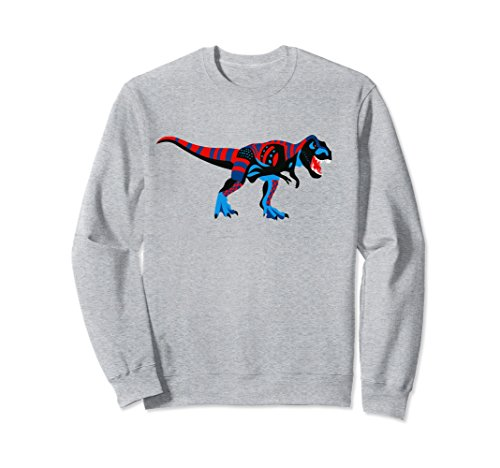 Unisex T-Rex Sweater, Cool Dinosaur, Awesome Dino Pullover - Unisex Small Heather Grey