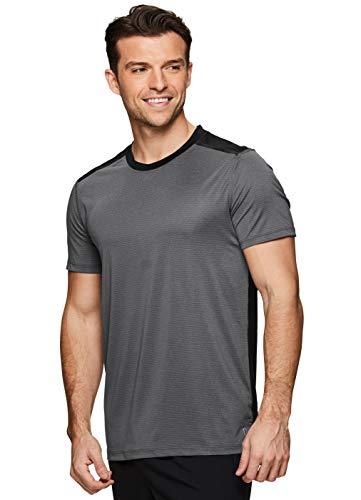RBX Active Men's Athletic Performance Mesh Crew Neck Gym T-Shirt S19 Charcoal ()