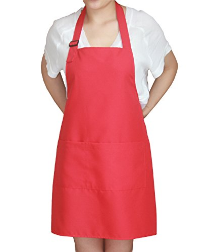 SEW UR LIFE Christmas Red Professional Waterdrop Resistant Adjustable Plus Size Bib Apron 3 Pockets Home Kitchen Garden Restaurant Cafe Bar Pub Bakery for Cooking Chef Baker Servers Craft Unisex